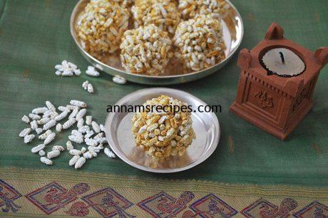 Nel Pori Urundai for Karthigai Deepam Nel Pori Urundai recipe