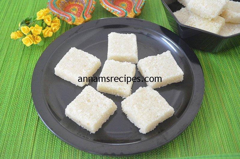 Simple Coconut Burfi recipe | Coconut Burfi