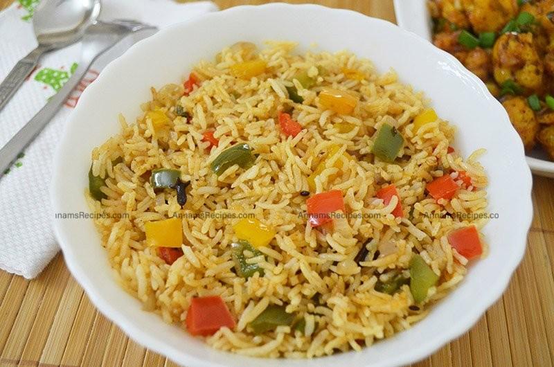 Capsicum Pulao recipe Capsicum Rice