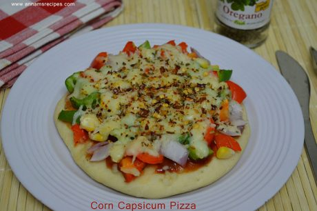 Corn Capsicum Pizza Corn Capsicum Pizza recipe with pictures