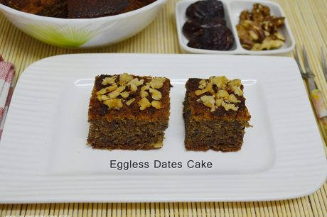 Eggless Dates and Walnut cake Eggless Dates and Walnut Cake Recipe