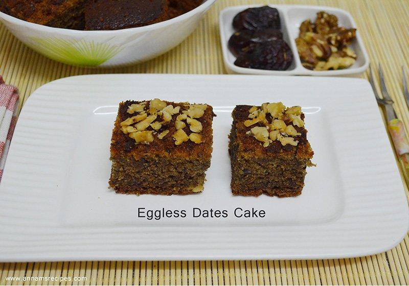 Eggless Dates and Walnut cake Eggless Dates and Walnut Cake Recipe