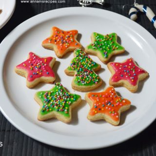 Eggless Sugar cookies | Eggless Sugar Cookies Recipe