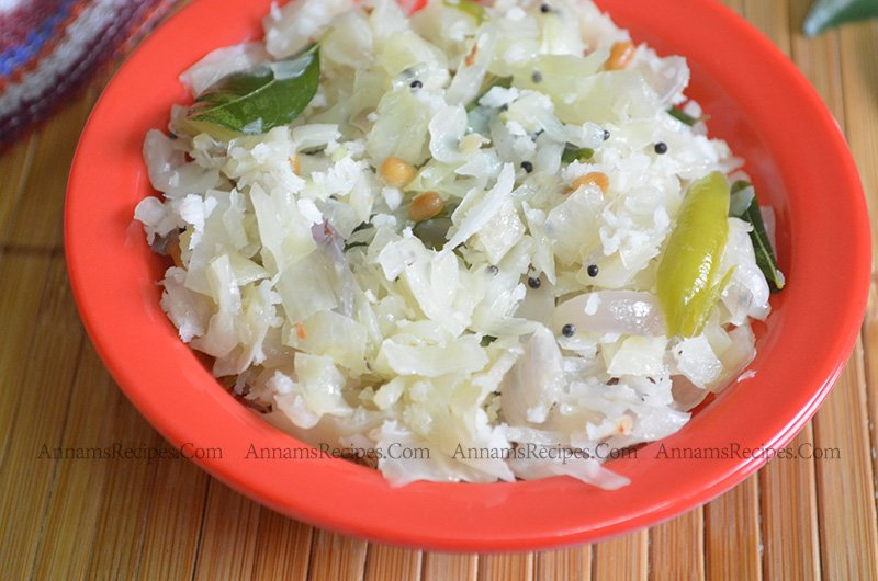 Cabbage poriyal Cabbage poriyal Recipe