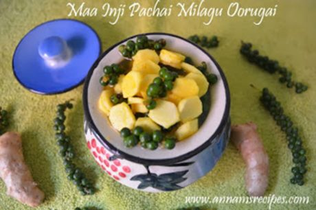 Maa Inji Pachai Milagu Oorugai Mango Ginger Raw Pepper corn Pickle Recipe