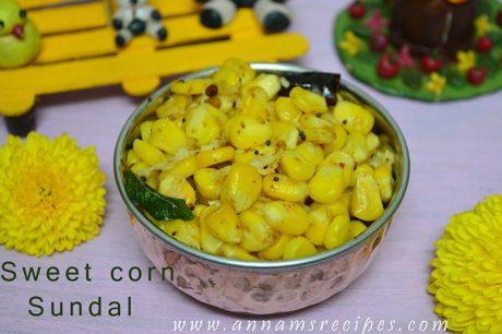 Sweet corn Sundal Sweet corn Sundal Recipe