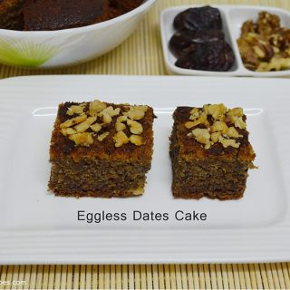 Eggless Dates and Walnut cake | Eggless Dates and Walnut Cake Recipe