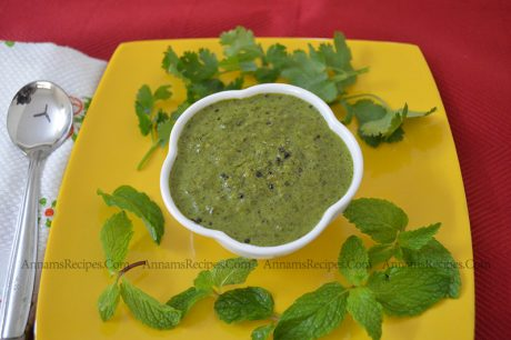 Coriander Mint Chutney for Dosa Coriander Mint Chutney Recipe